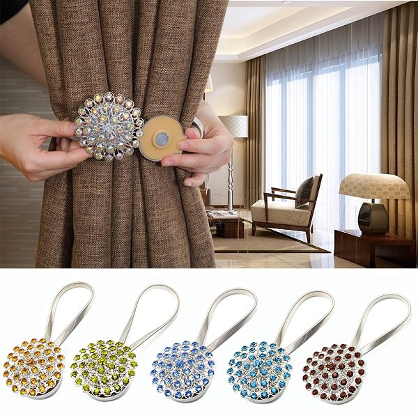 Zinc Alloy Classic Window Curtain Tiebacks Magnetic Elastic Drapes Decorative Holdbacks Holders
