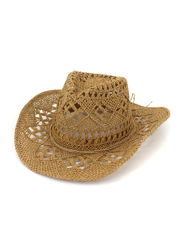 Womens Summer Hollow Breathable Exquisite Straw Hat Outdoor Travel Sun Jazz Cap