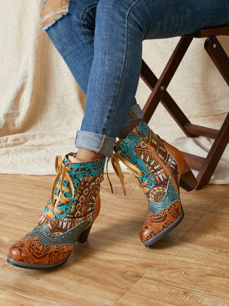 SOCOFY أحذية قصيرة مريحة يمكن ارتداؤها من الجلد المنقوش بالزهور الرجعية