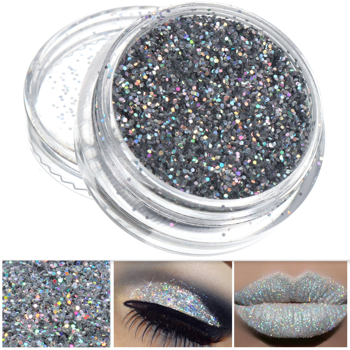 Silver Glitter Nail Decoration Powder Eye Shadow Pigment Sparkly Makeup 0.4mm 3g