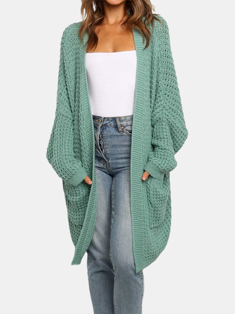 Solid Color Long Sleeve Losse Knit Cardigan For Women