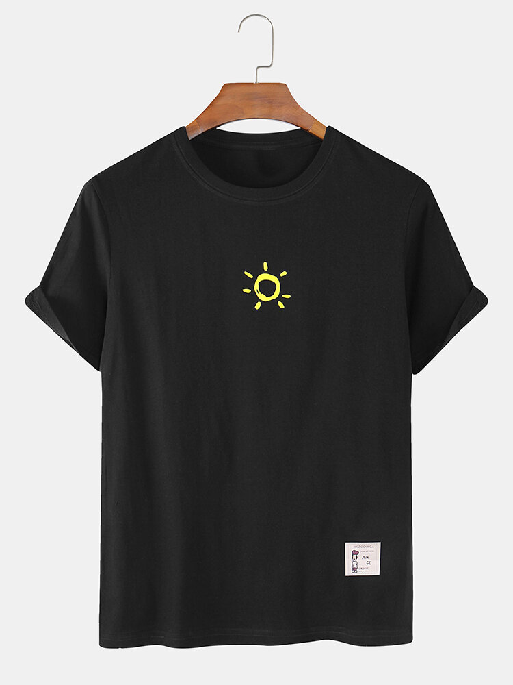 Mens Cotton Solid Color Small Sun Breathable Loose O-Neck T-Shirts