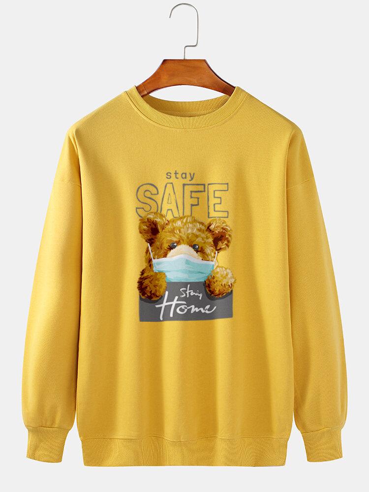 Mens Cartoon Bear Letter Printed 100% Cotton Casual Pullover Sweatshirts