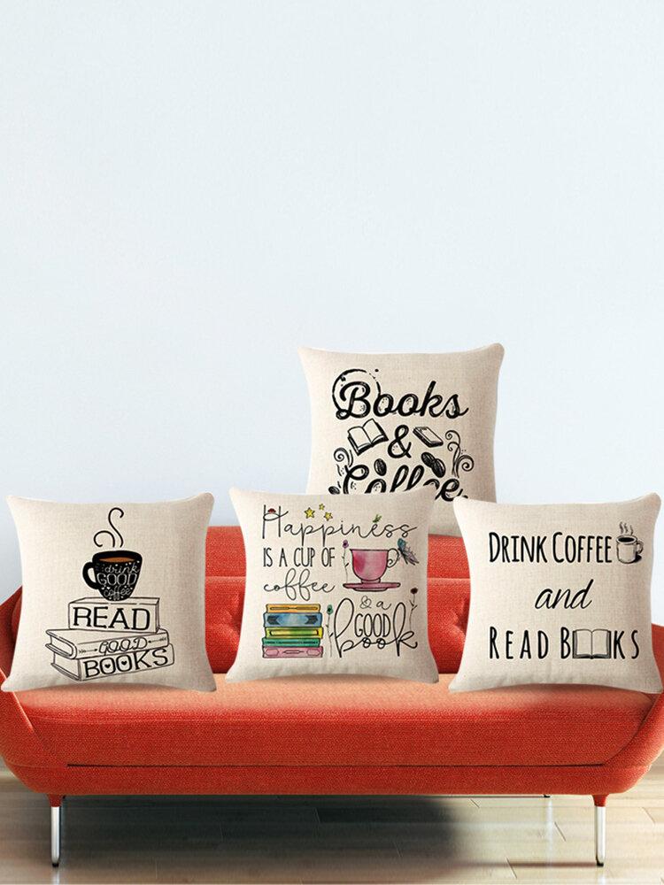Kissenbezug mit Kaffee Bücher