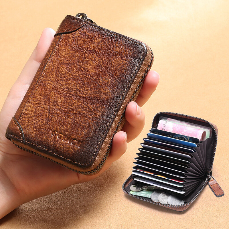 Men Genuine Leather Multi-slots RFID Anti-theft Retro Large Capacity Foldable Card Holder Wallet