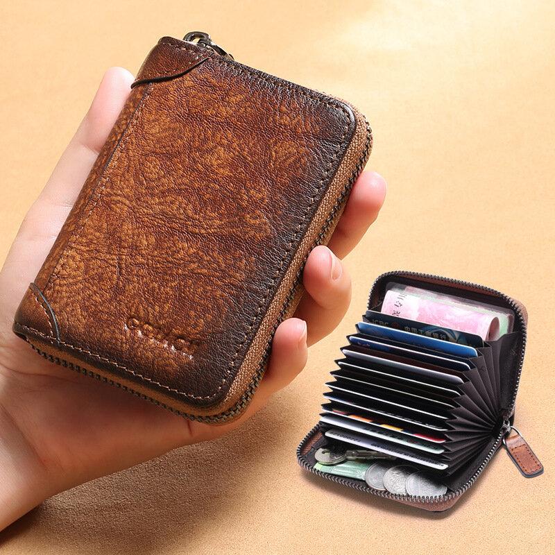 Men Genuine Leather Multi-slots RFID Anti-theft Retro Large Capacity Foldable Card Holder Wallet
