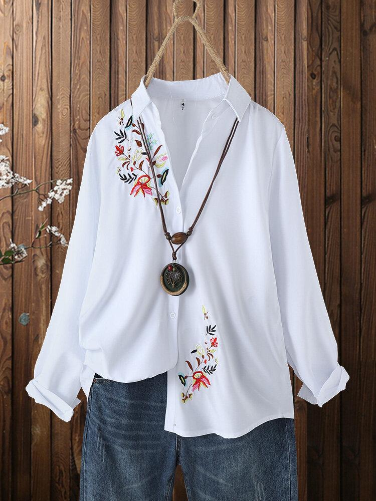 花刺繍ボタンフロント Plusサイズ 長袖シャツ