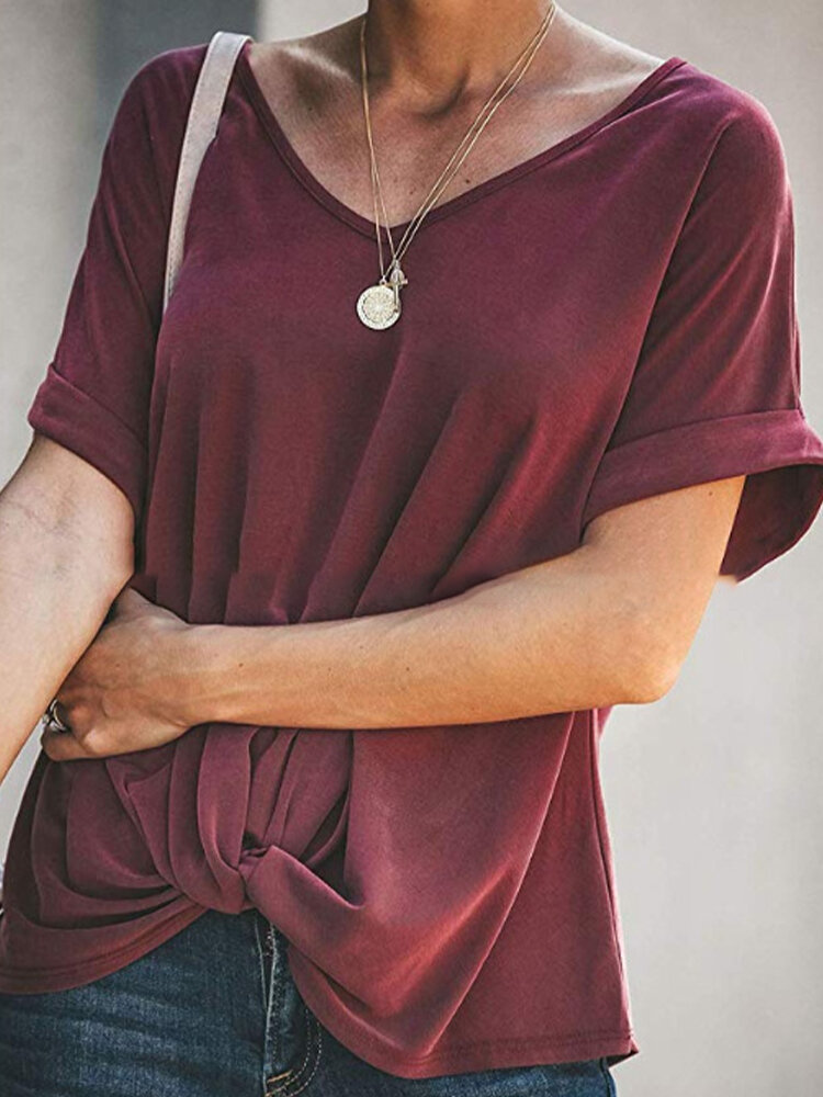 Solid Color O-neck Short Sleeve Knot Blouse