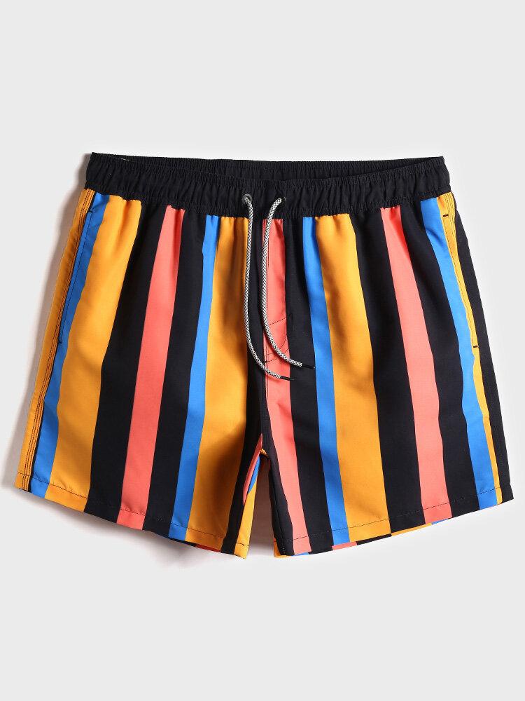 سروال سباحة رجالي مقاوم للماء متعدد اللون شورت شاطئ برباط عريض مع بطانة شبكية