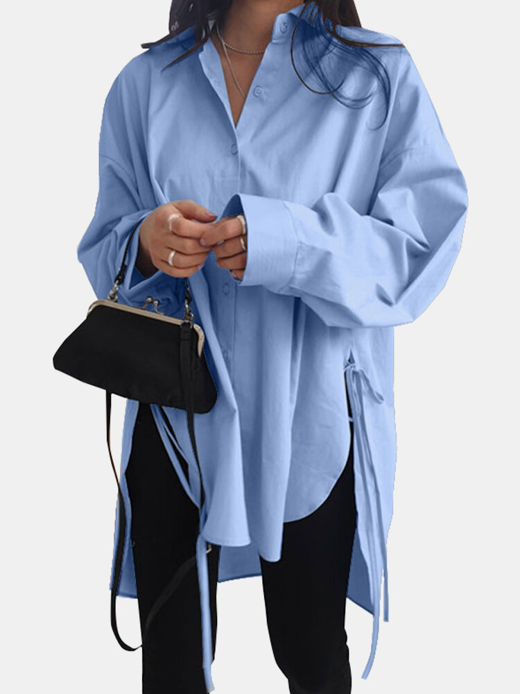 Solid Color Long Sleeve Side Slit Lace-up Irregular Shirt For Women