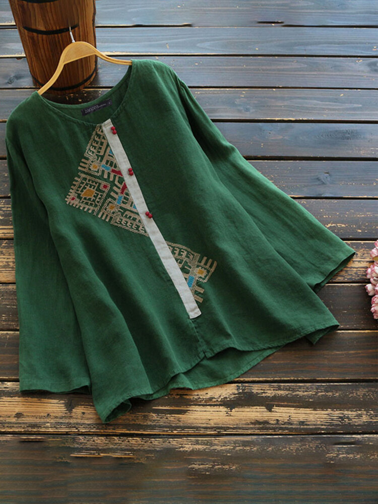 Women Embroidery Patched Long Sleeve Casual Blouse