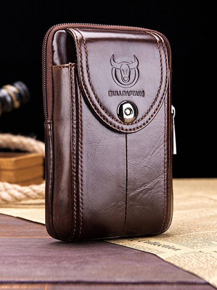 Bullcaptain Genuine Leather Waist Bag Portable 5.5'' 6'' Phone Bag Crossbody Bag For Men
