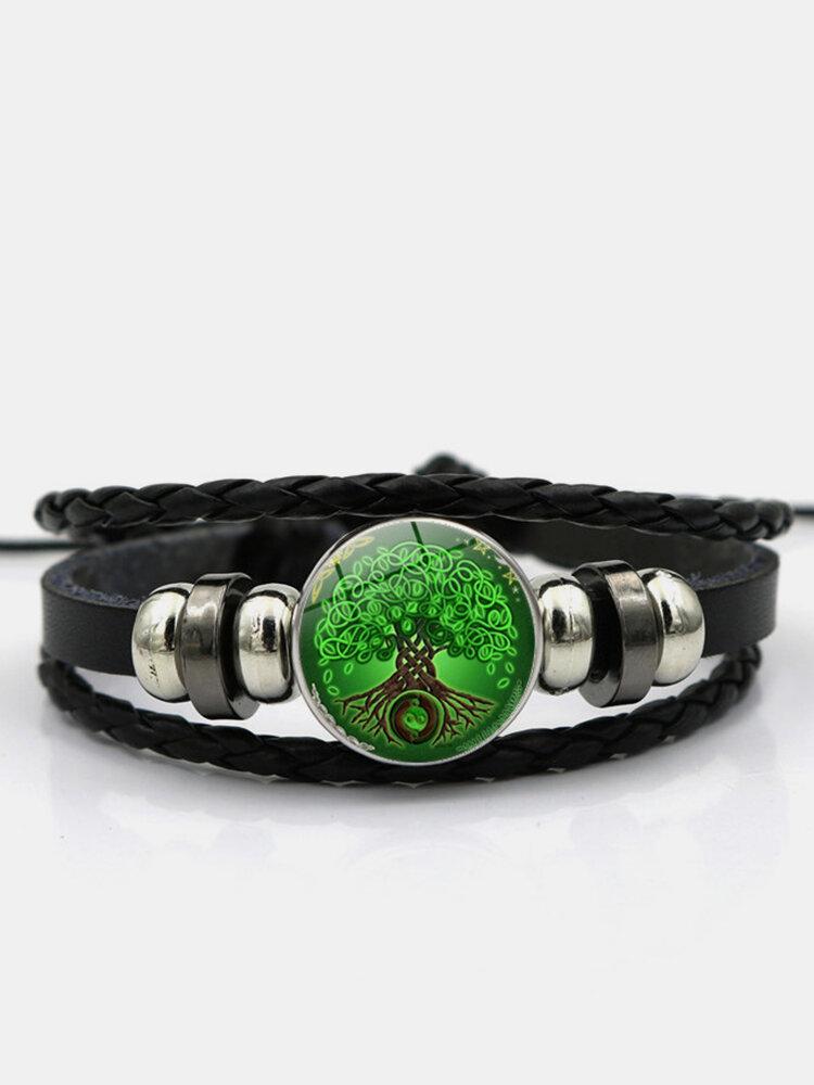 Vintage Green Tree Of Life Pattern Braided Beaded Glass PU Alloy Multi-layer Bracelet
