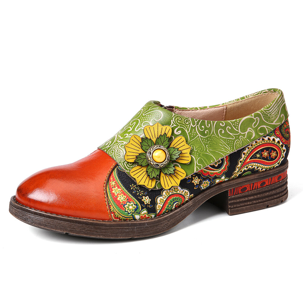 Retro Paisley Textile Splicing Floral Embossed Genuine Leather Flat Shoes