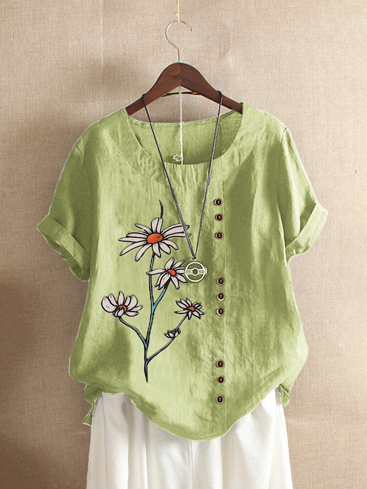 Floral Printed Overhead Short Sleeve Button O-Neck T-shirt