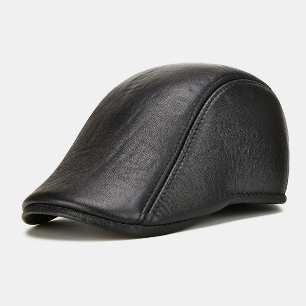 Collrown Men Genuine Leather Solid Color Casual Fashion Outdoor Forward Hat Beret Hat