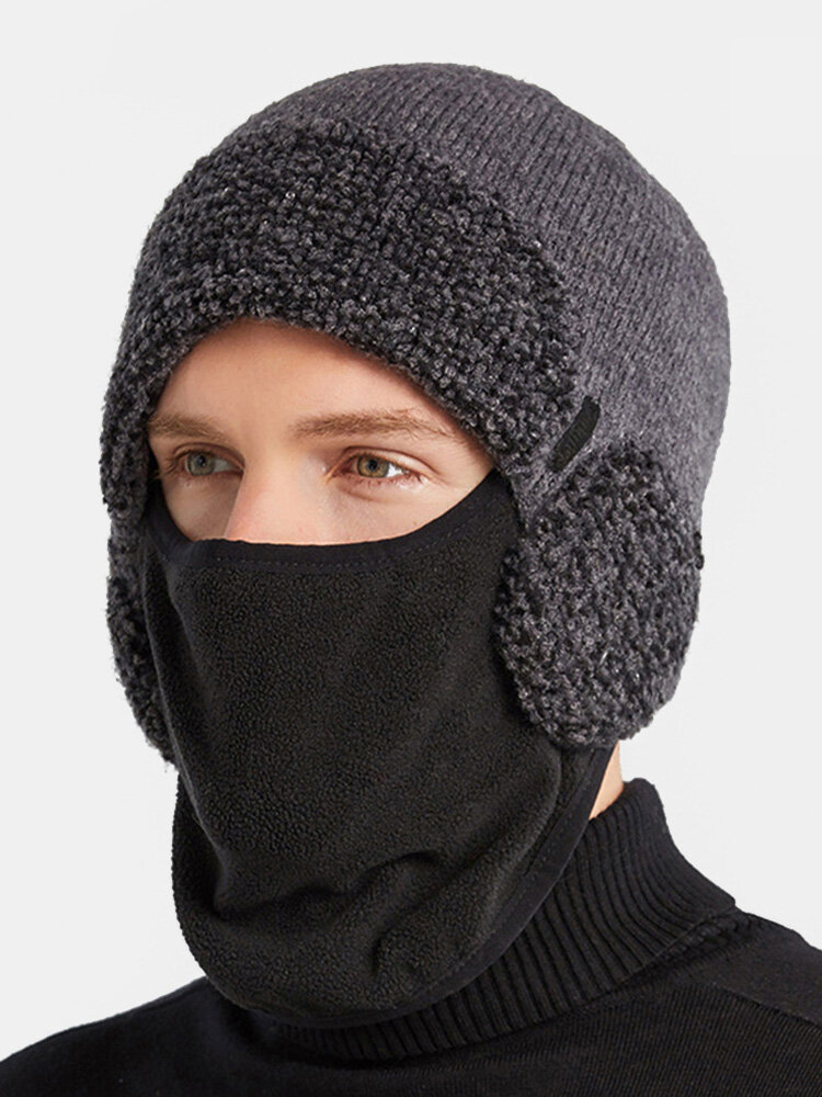 Men Dual-use Detachable Mask Plus Thick Warm Windproof Face Ear Protection Headgear Knitted Hat For Riding