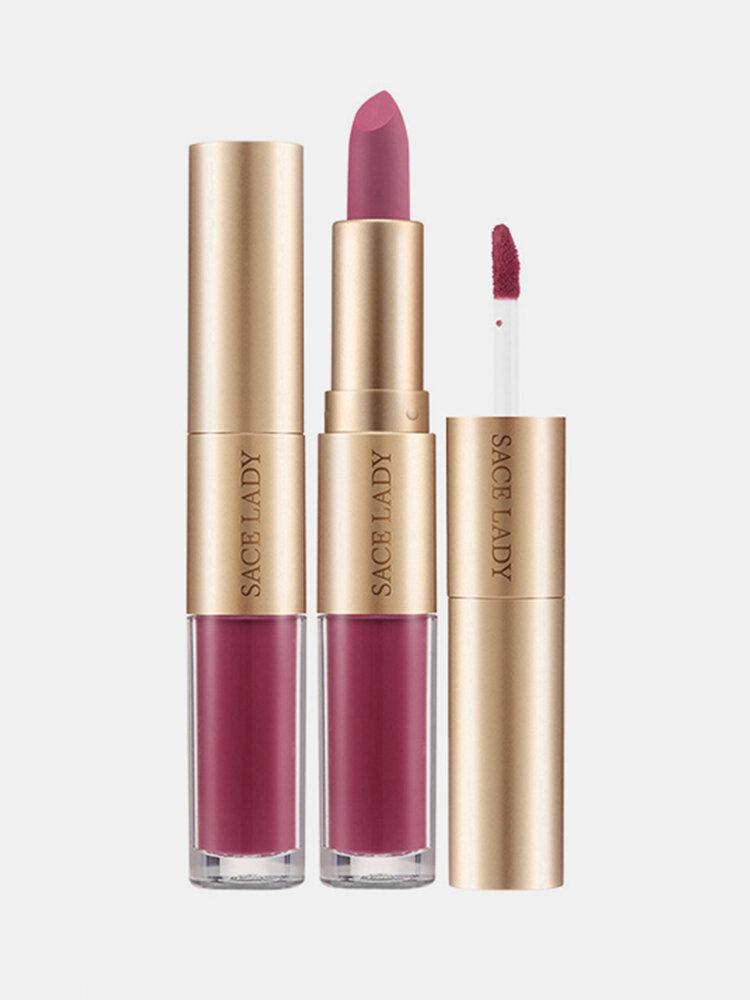 2 In 1 matten Lippenstift Lipgloss Double-Headed Design Wasserdicht Soft Smooth Cosmetic Lip Makeup