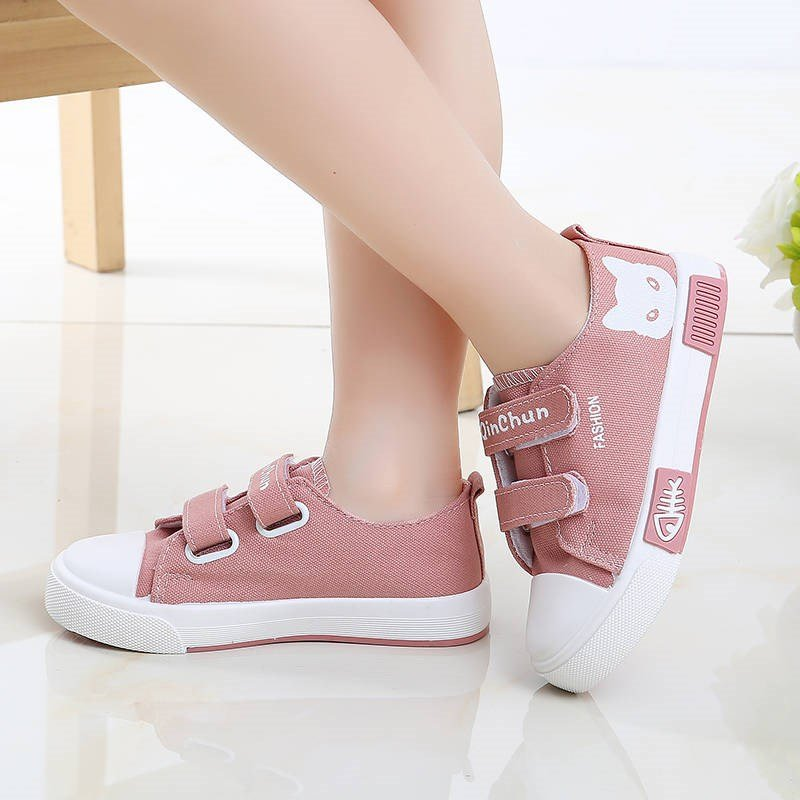 Girls Canvas Lovely Cartoon Pattern Hook Loop Flat Casual Shoes