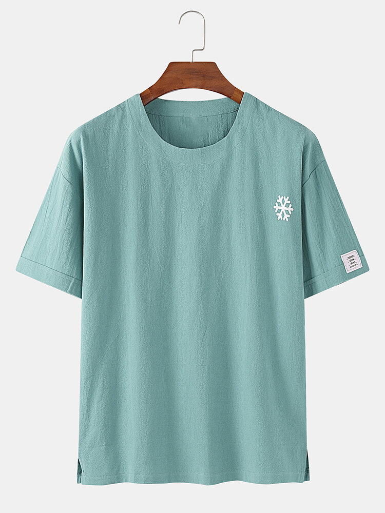 Mens Snowflake Print Solid Color Breathable Loose Casual Summer T-Shirts