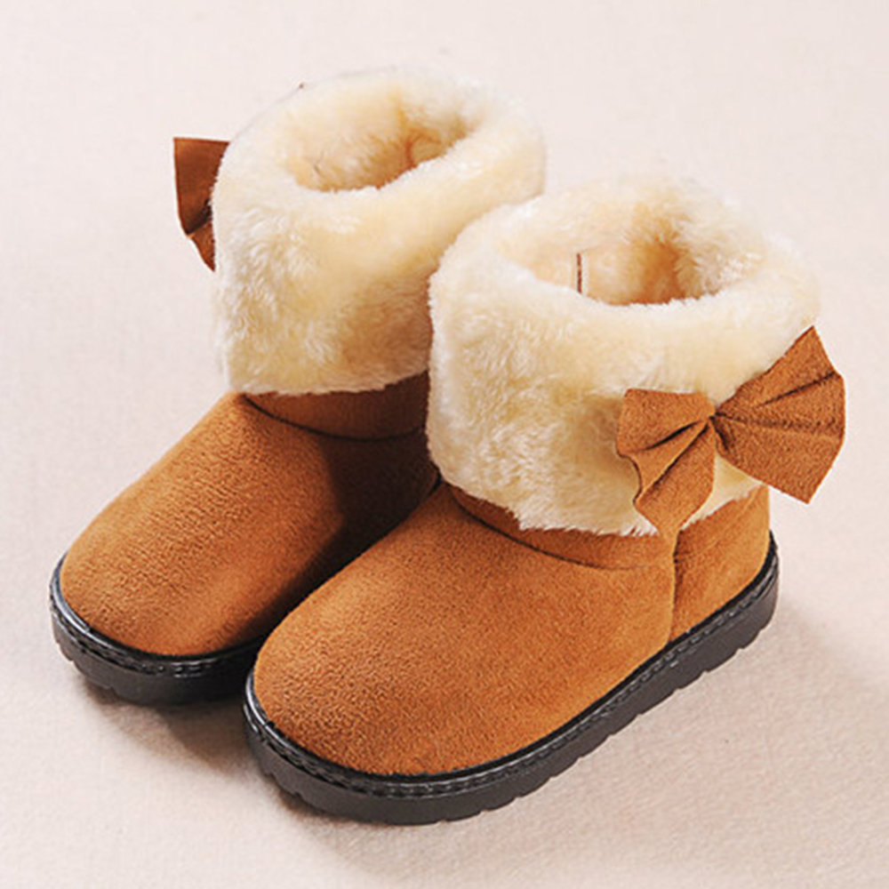 Girls Suede Bowknot Multiple Size Warm Lining Comfy Snow Boots