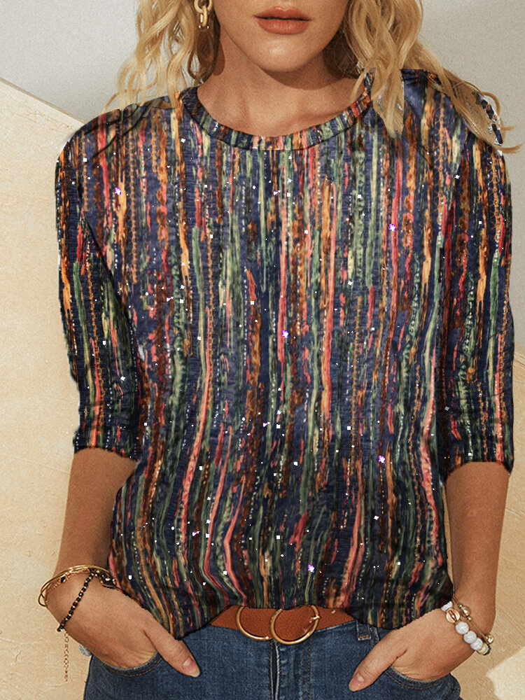 Multi-color Striped Glitter Printed Long Sleeve Plus Size Blouse