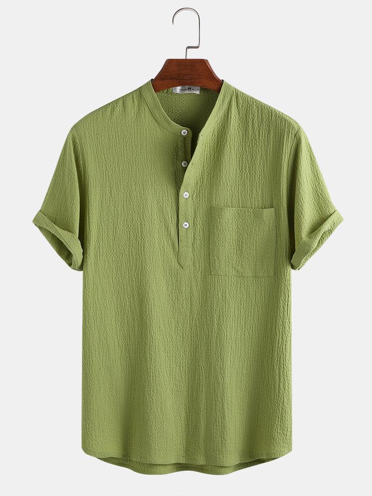 メンズコットン100%ソリッドカラーバブルテクスチャカジュアルホームスタンドカラーヘンリーシャツ