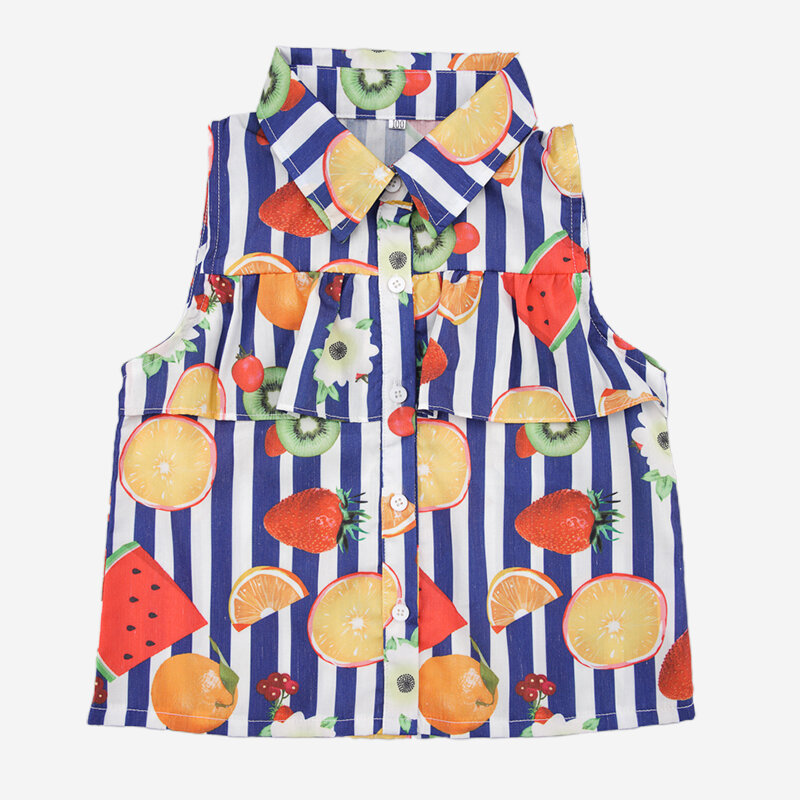 Girl's Fruit Print Striped Turn-down Collar Sleeveless Casual T-shirt For 1-5Y