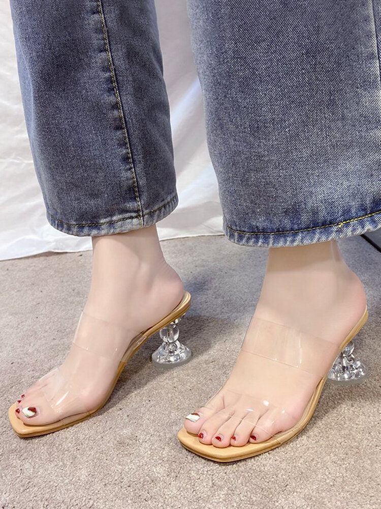 Women Simple Transparent Square Toe Clear Heels Slippers