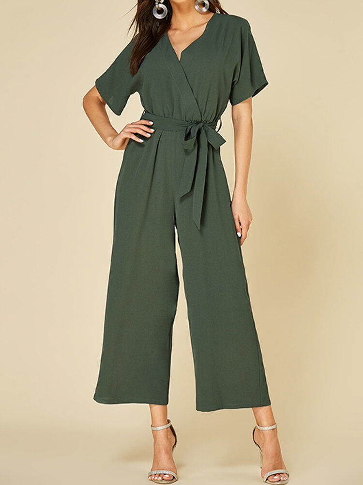 Solid Color V-neck Knotted Short Sleeve Casual Jumpsuit for Women