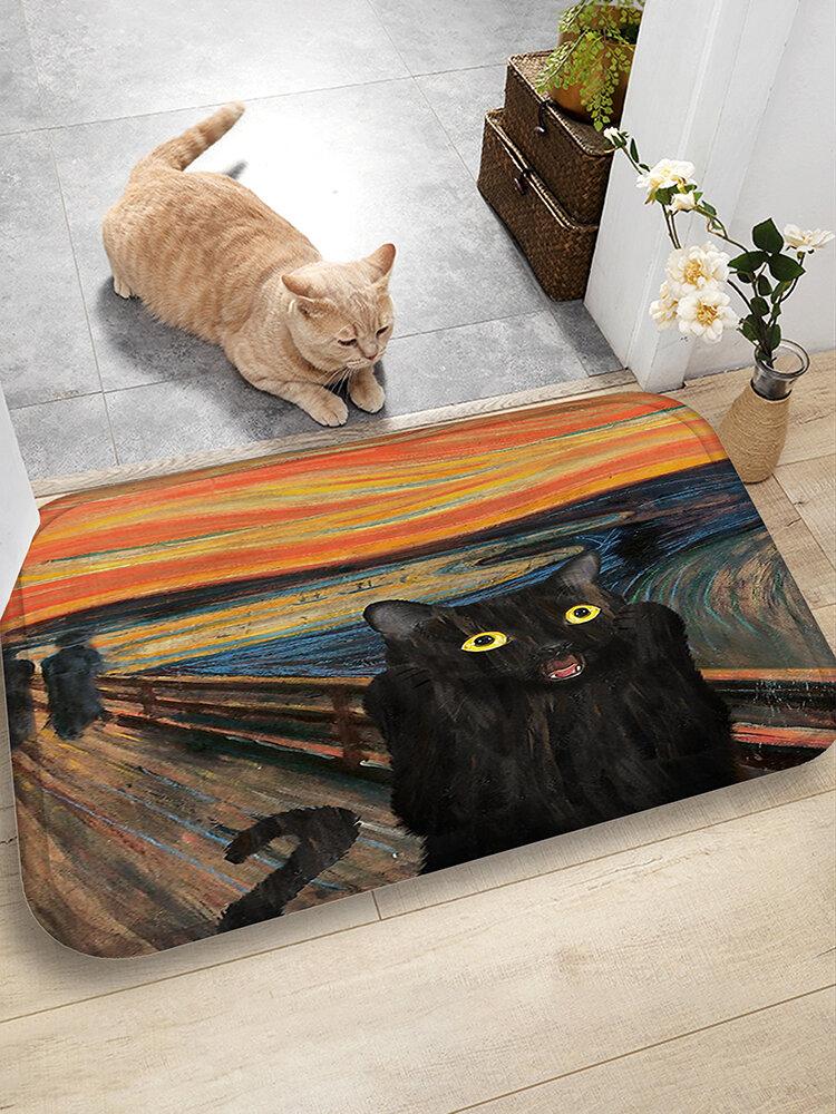 Schwarz Katze Muster Fußmatten Flanell Wasseraufnahme Antirutsch-Fußmatte Badezimmertürmatte