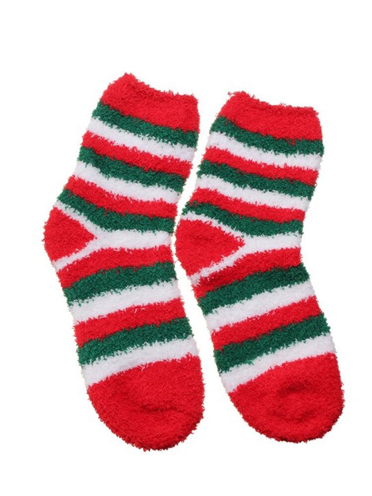 Coral Fleece Cute Christmas Cartoon Pattern Socks Bowknot Thickening Thermal Long Sox