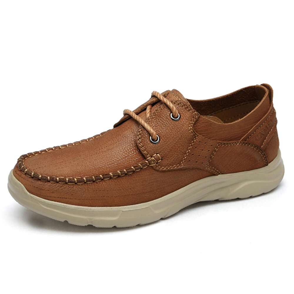 CAMEL CROWN Men Outdoor Casual Shoes Stitching Retro Cowhide Leather Soft Sole Shoes
