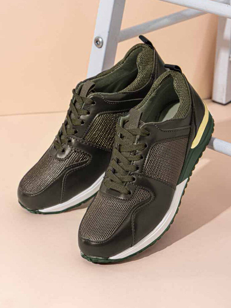 Women Solid Color Casual Splicing Mesh Lace Up Sports Running Shoes