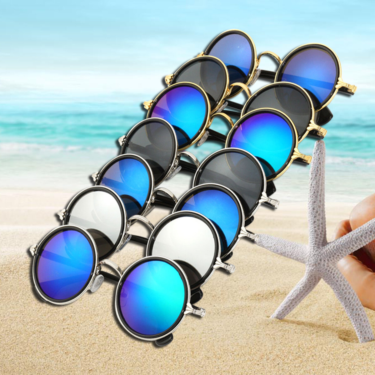 3ea27c4f5 Men Women Vintage Classic Glasses Round Frame Colorful Mirror Lens  Sunglasses Cool - NewChic