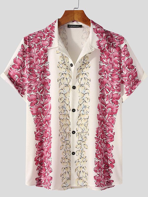 プラスサイズのメンズフローラルプリントボタンアップカジュアル半袖シャツ