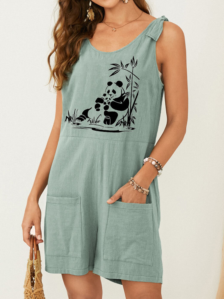 Pandas Print Knotted Strap Pocket Front Casual Strampler