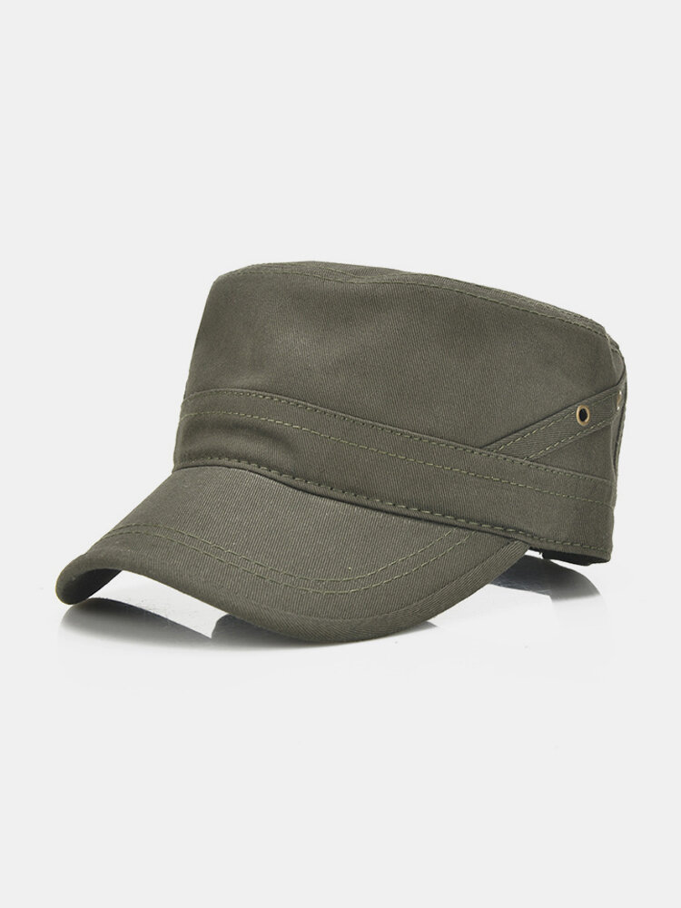 Mens Cotton Breathable Flat Baseball Hat Outdoor Sport Visor Military Training Cap Adjustable