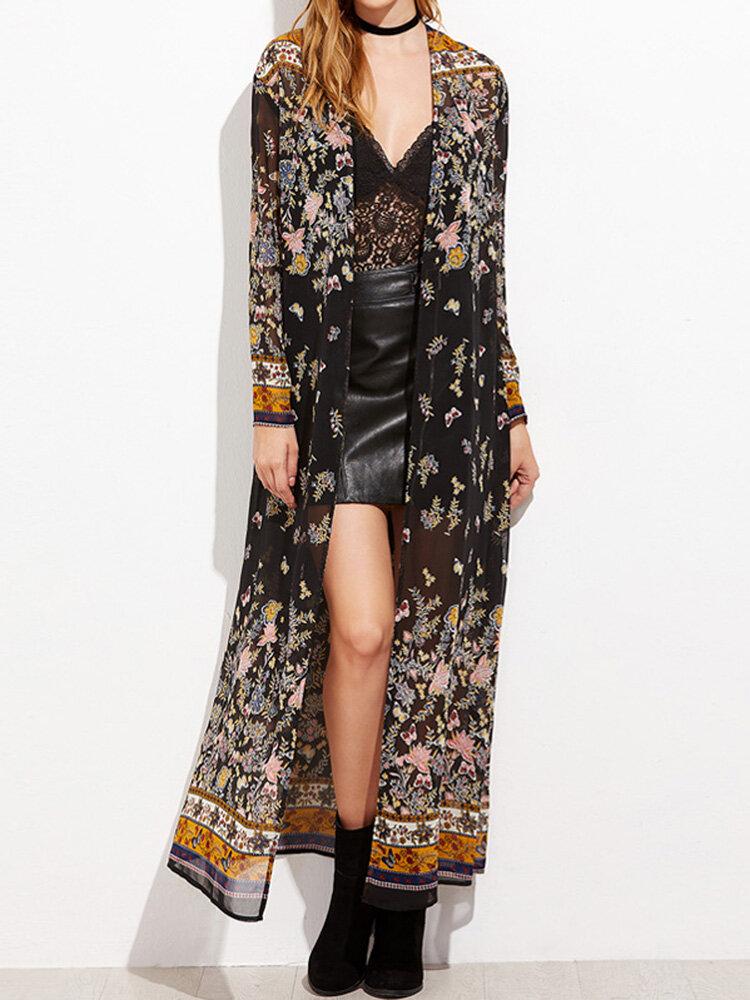 Floral Print Flowy Long Sleeve Plus Size Kimono