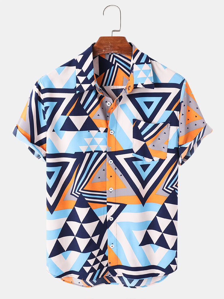 Mens Triangle All Over Print Lapel Street Short Sleeve Shirts