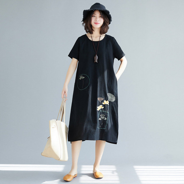 Season New Literary Large Size Women's Embroidery In The Long Section Of Cotton And Linen Thin Short-sleeved Dress