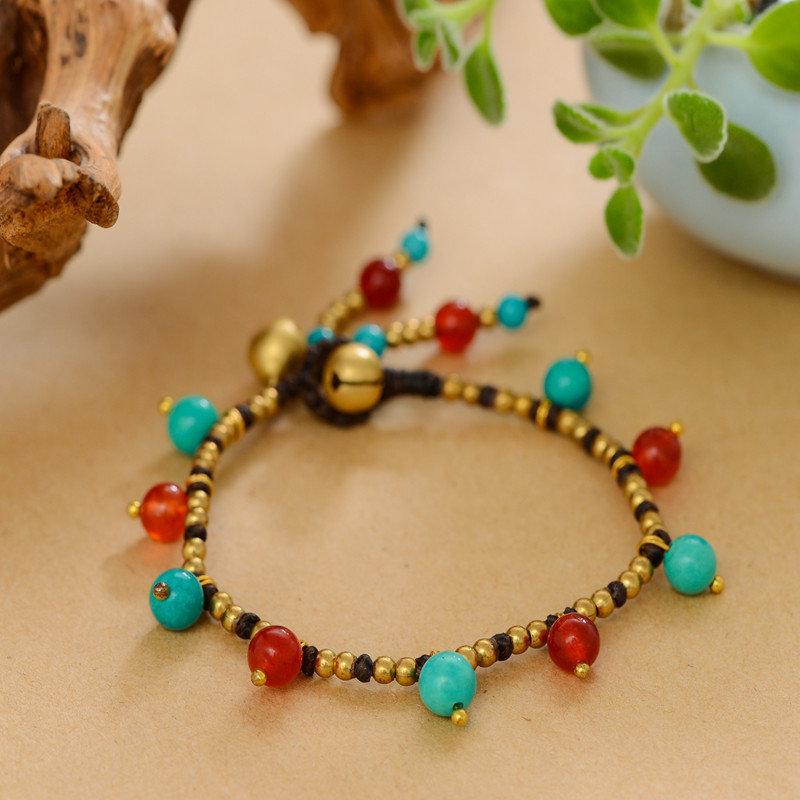 1a41c34858b1 Pulseras étnicas hechas a mano con cuentas ágata turquesa pulseras de  perlas naturales joyería vintage para