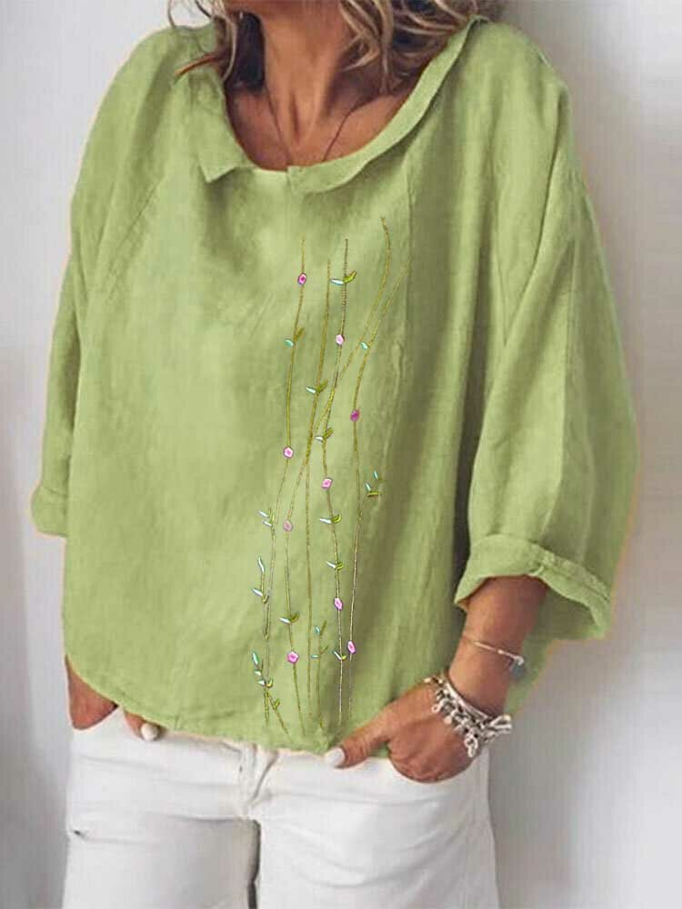 Embroidery Floral Turn-down Collar Long Sleeve Loose Blouse