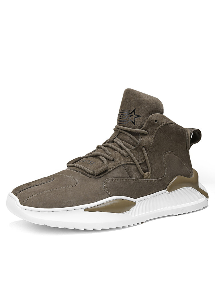 Men Sport Comfy Non Slip Lace Up High Top Sneakers