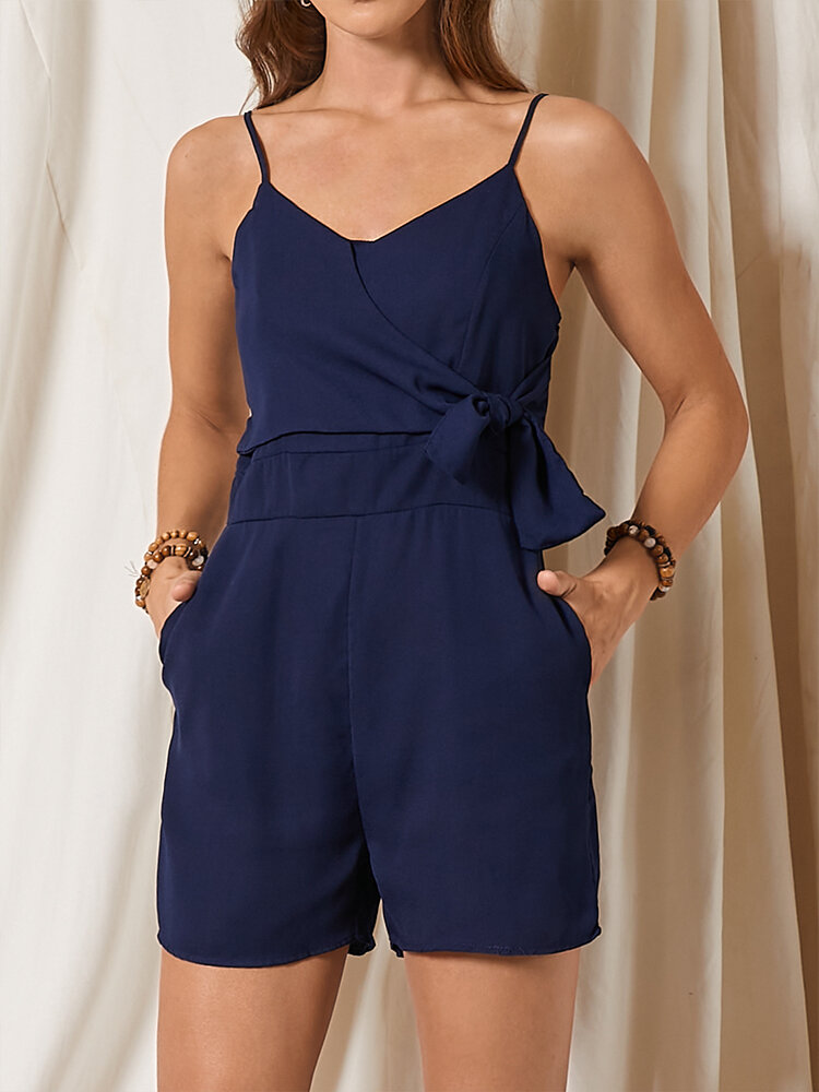 Solid Color Knotted Waist Adjustable Strap Casual Romper with Pocket