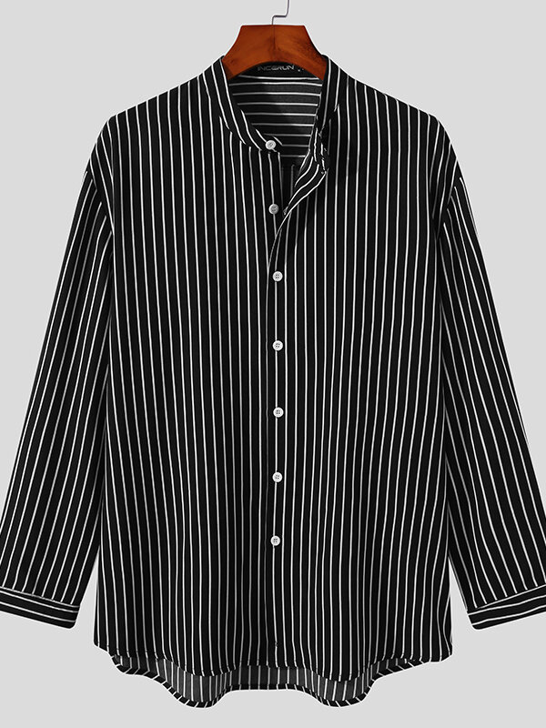 Plus Size Mens Vertical Stripe Stand Collar Plain Casual Long Sleeve Shirts