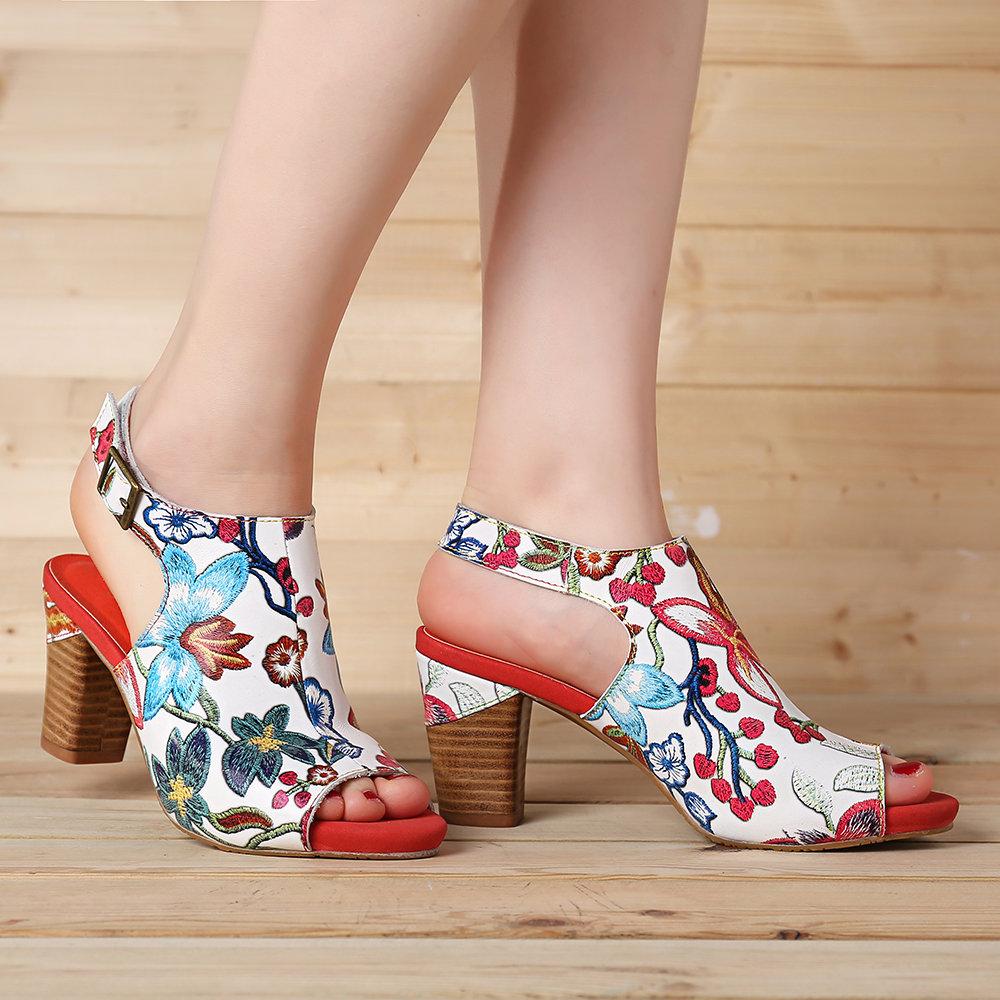 SOCOFY Fancy Flowers Pattern Genuine Leather Soft Hook Loop Peep Toe Sandals