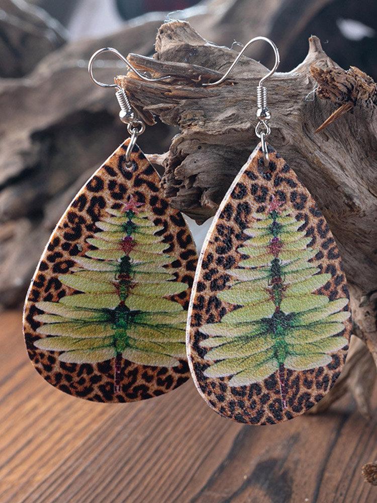 Ethnic Drop-Shaped Women Earrings Christmas Tree Dragonfly Leopard Pendant Earrings