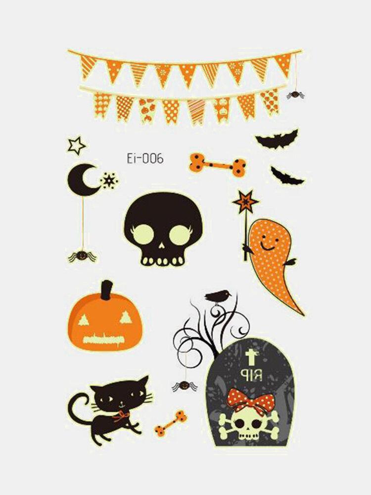 Halloween Luminous Tattoo Children Cartoon Stickers Body Art Waterproof Fake Temporary Tattoo Transfer Paper