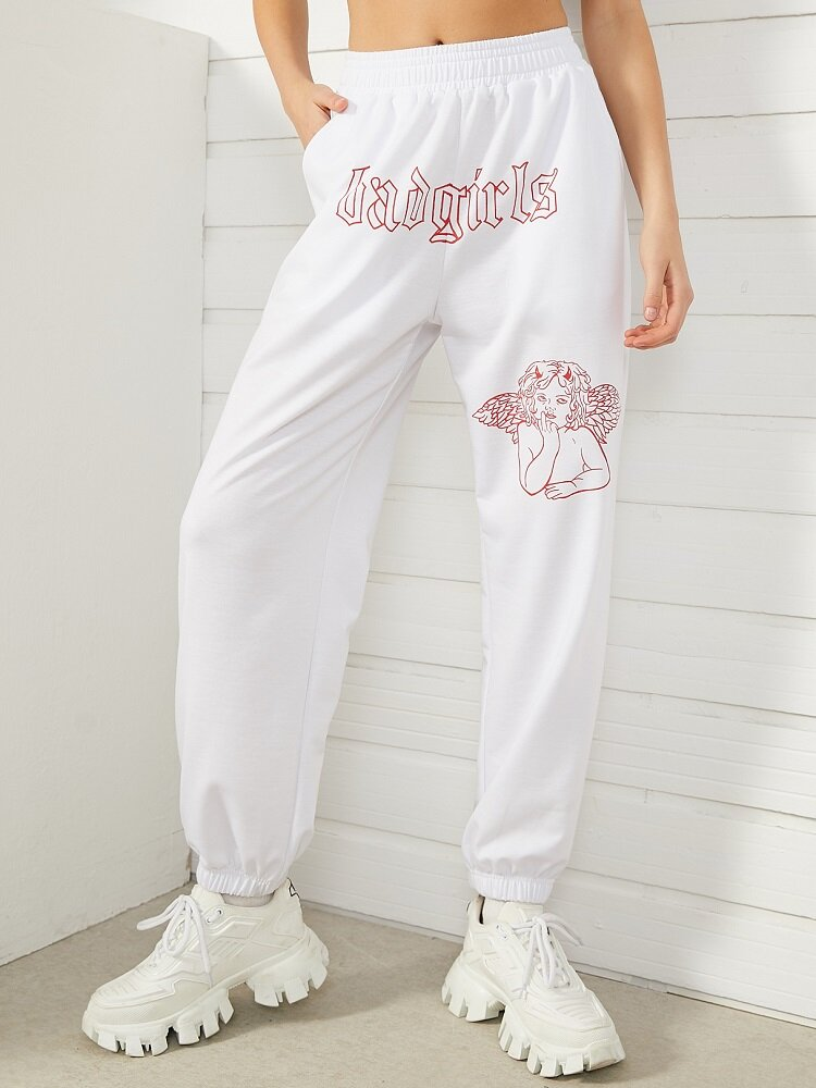 Cartoon Letter Graphic Print Sport Jogger Pants With Pocket